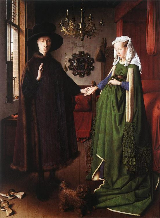 Portrait of Giovanni Arnolfini and his Wife :: Jan van Eyck - man and woman фото