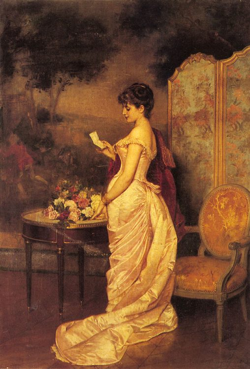 The Love Letter :: Auguste Toulmouche  - Romantic scenes in art and painting фото