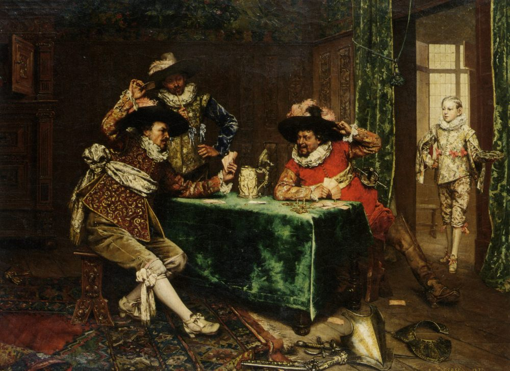 A Game of Cards :: Adolphe Alexandre Lesrel - Rich interiors ôîòî
