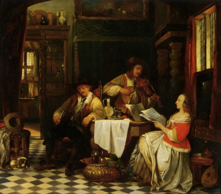The Musician :: Baron Jan August Hendrik Leys  - Interiors in art and painting фото