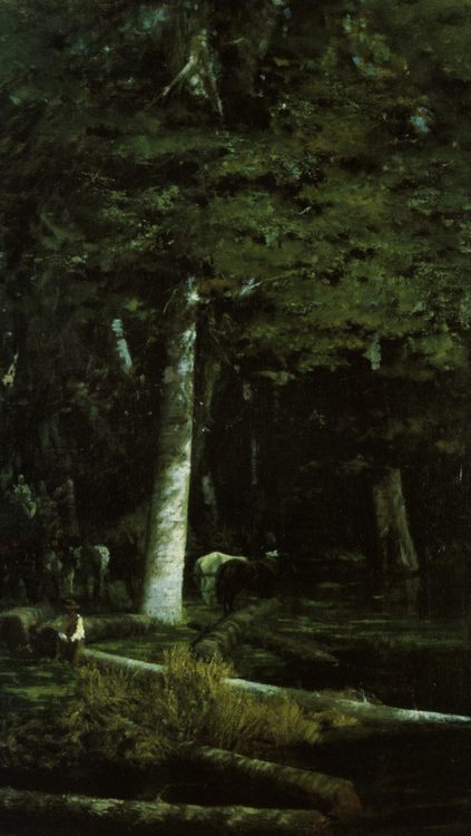 Wood Felling in a Forest :: Giuseppe de Nittis  - Forest landscapes ôîòî