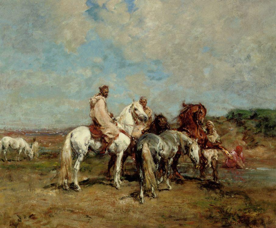 A Rest at the Oasis :: Henri Emilien Rousseau - Horses in art фото