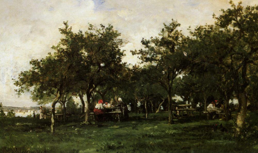 Peasants Repast :: Karl Pierre Daubigny - Summer landscapes and gardens фото