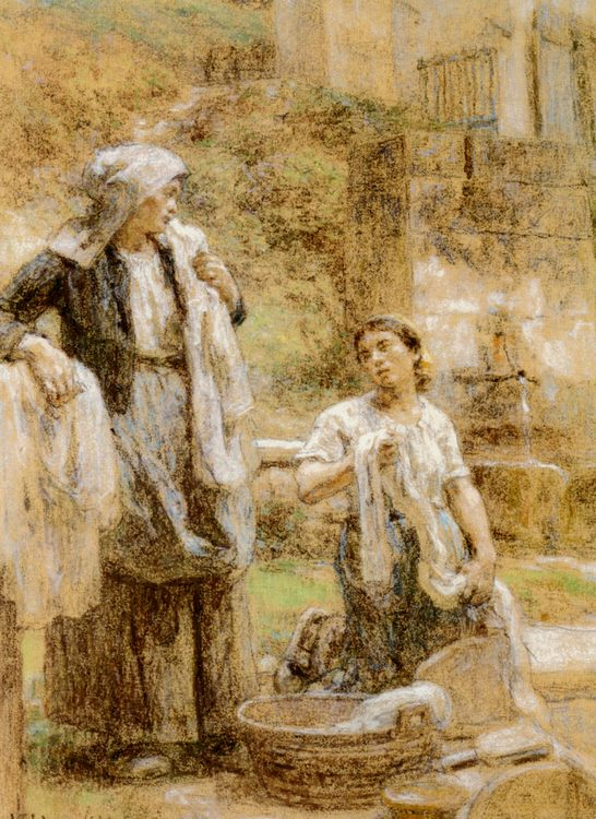The Washerwomen :: Leon-Augustin L'hermitte - Village life ôîòî