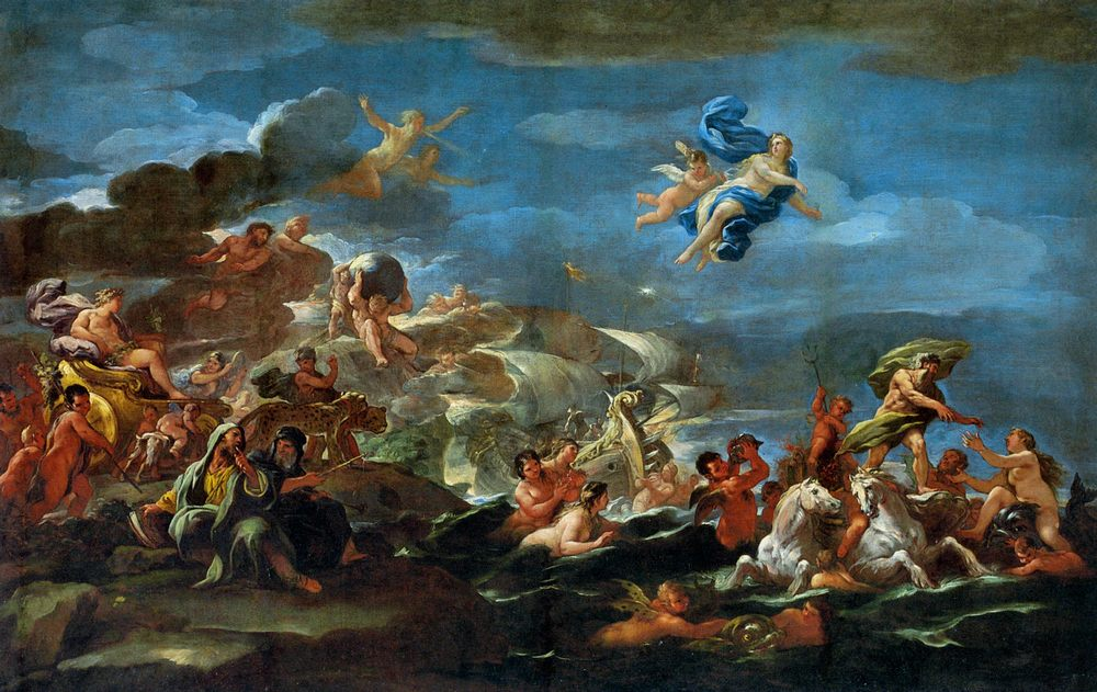 The Triumph of Bacchus Neptune and Amphitrite :: Luca Giordano - mythology and poetry фото
