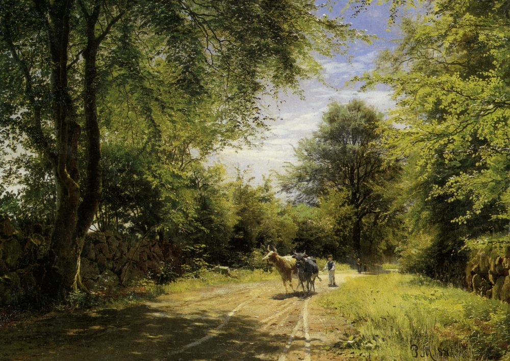 The Young Cowherd :: Peder Mork Monsted - Landscapes with cows ôîòî