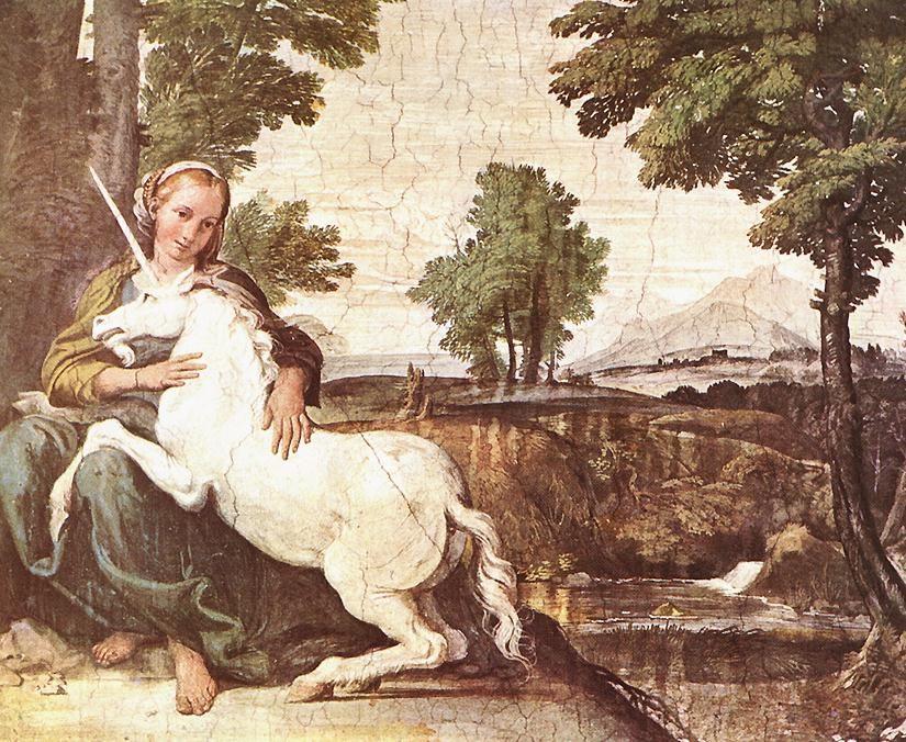 The Maiden and the Unicorn :: Domenichino - mythology and poetry ôîòî