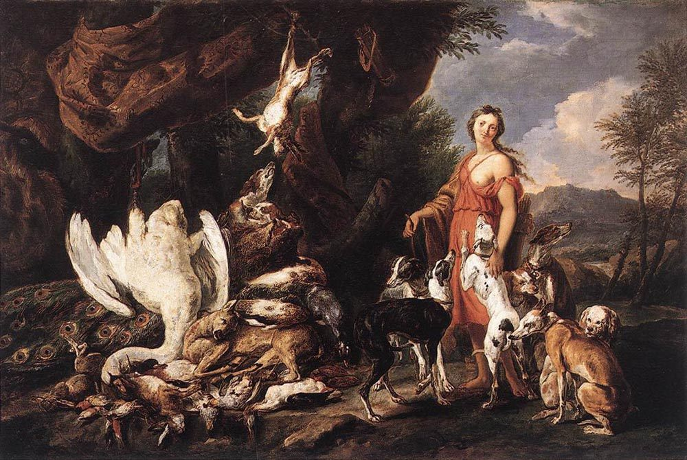 Diana with Her Hunting Dogs beside Kill  :: Jan Fyt - mythology and poetry фото