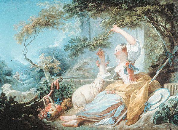 Shepherdess :: Jean-Honore Fragonard - Romantic scenes in art and painting фото