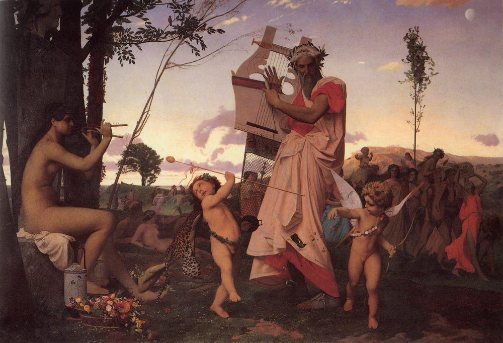 Anacreon, Bacchus and Cupid :: Jean-Leon Gerome - mythology and poetry фото