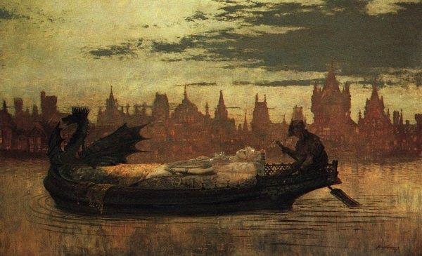 Elaine :: John Atkinson Grimshaw - mythology and poetry ôîòî