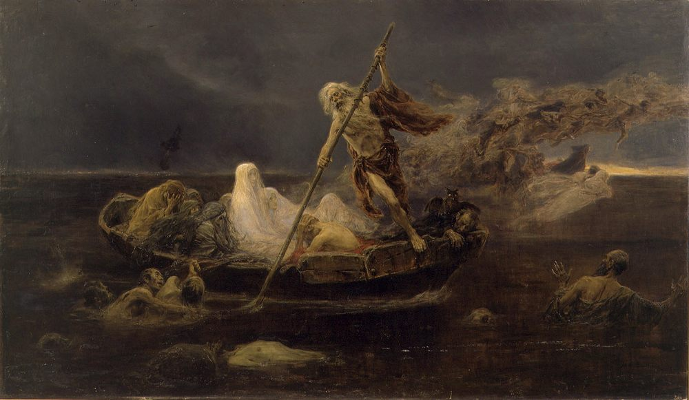 The Barque of Charon :: Jose Benlliure y Gil - mythology and poetry фото