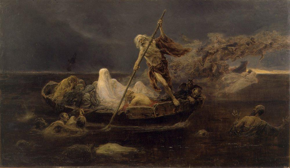 The Barque of Charon :: Jose Benlliure y Gil - mythology and poetry ôîòî