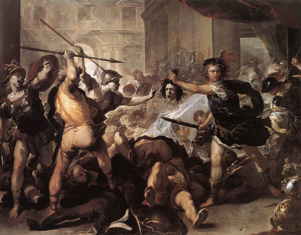 Perseus Fighting Phineus and his Companions :: Luca Giordano - mythology and poetry фото
