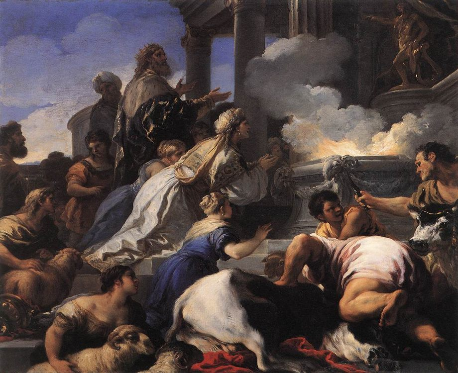 Psyche's Parents Offering Sacrifice to Apollo :: Luca Giordano - mythology and poetry фото
