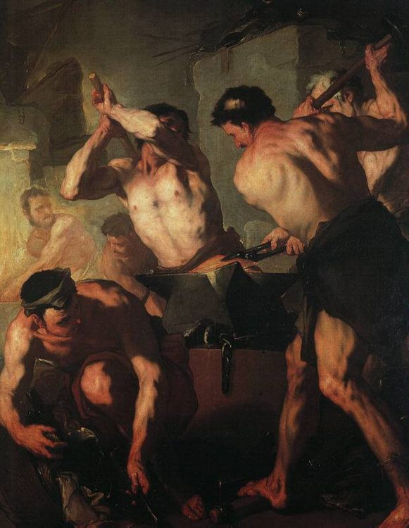 The Forge of Vulcan :: Luca Giordano - mythology and poetry фото
