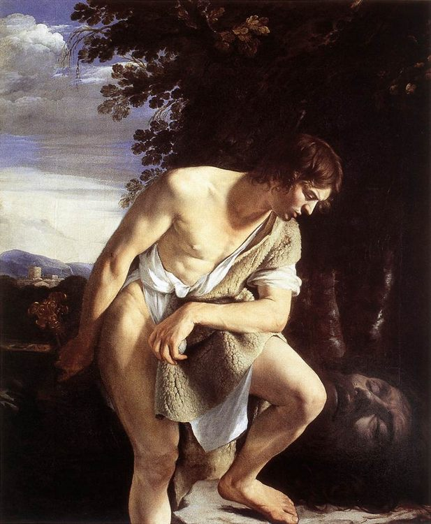 David Contemplating the Head of Goliath :: Orazio Gentleschi - Bible scenes in art and painting ôîòî