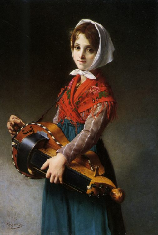 The Hurdy Gurdy Girl :: Jules Richomme - Portraits of young girls in art and painting фото