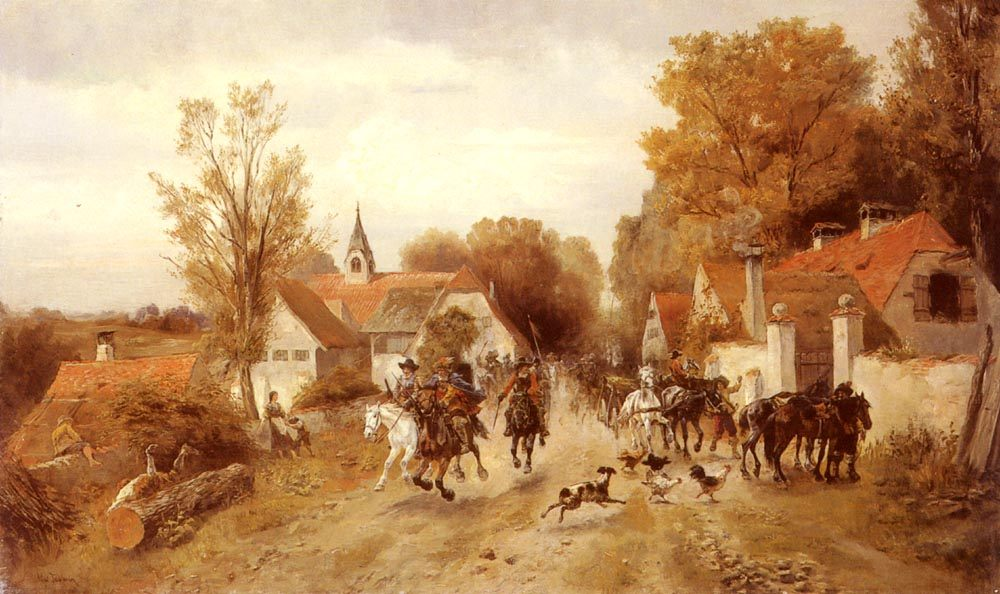 The Approaching Cavalry :: Alfred Ritter von Malheim Friedlander - History painting ôîòî