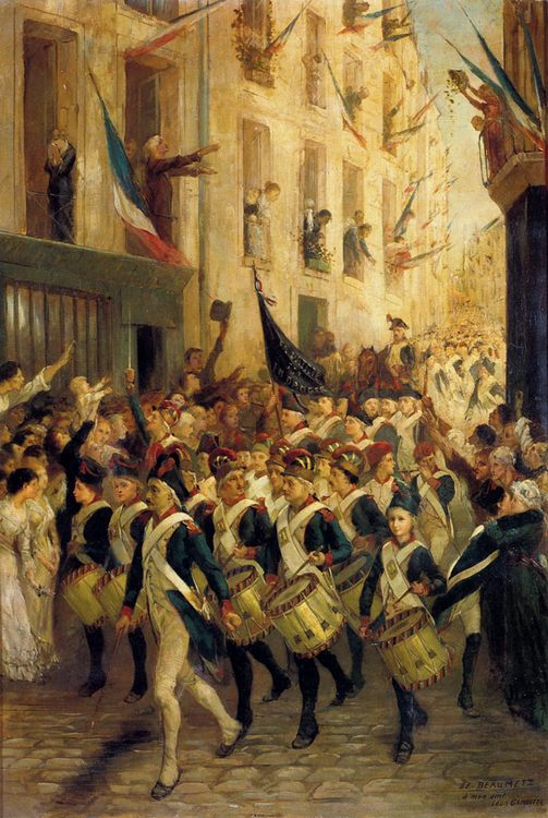 Battalions on city streets :: Henri-Charles-Etienne Dujardin-Beaumetz - History painting ôîòî