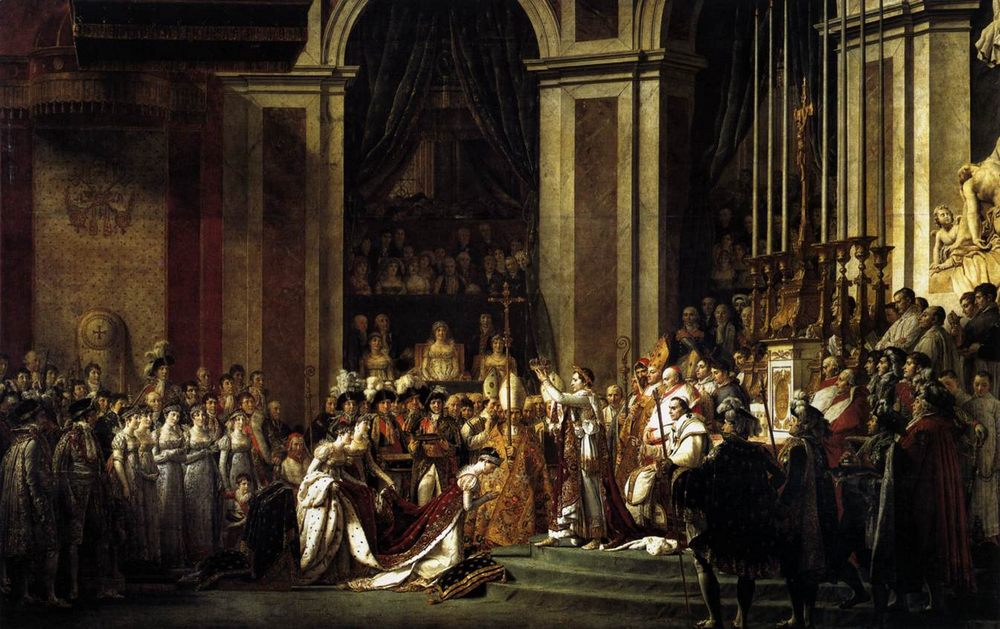 Consecration of the Emperor Napoleon I and Coronation of the Empress Josephine :: Jacques-Louis David - History painting фото