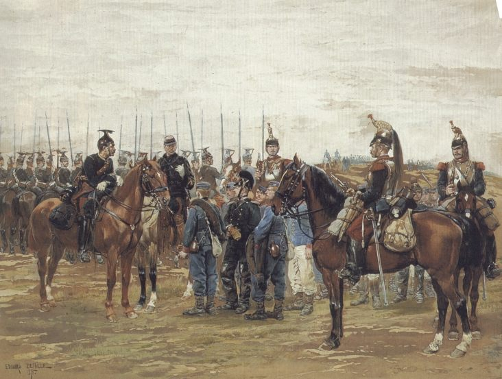 A French Cavalry Officer Guarding Captured Bavarian Soldiers :: Jean Baptiste Edouard Detaille - History painting ôîòî