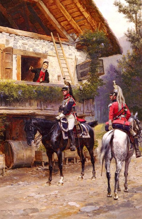 Officers from a Cuirassier Regiment in front of a Country House :: Jean Baptiste Edouard Detaille - History painting фото