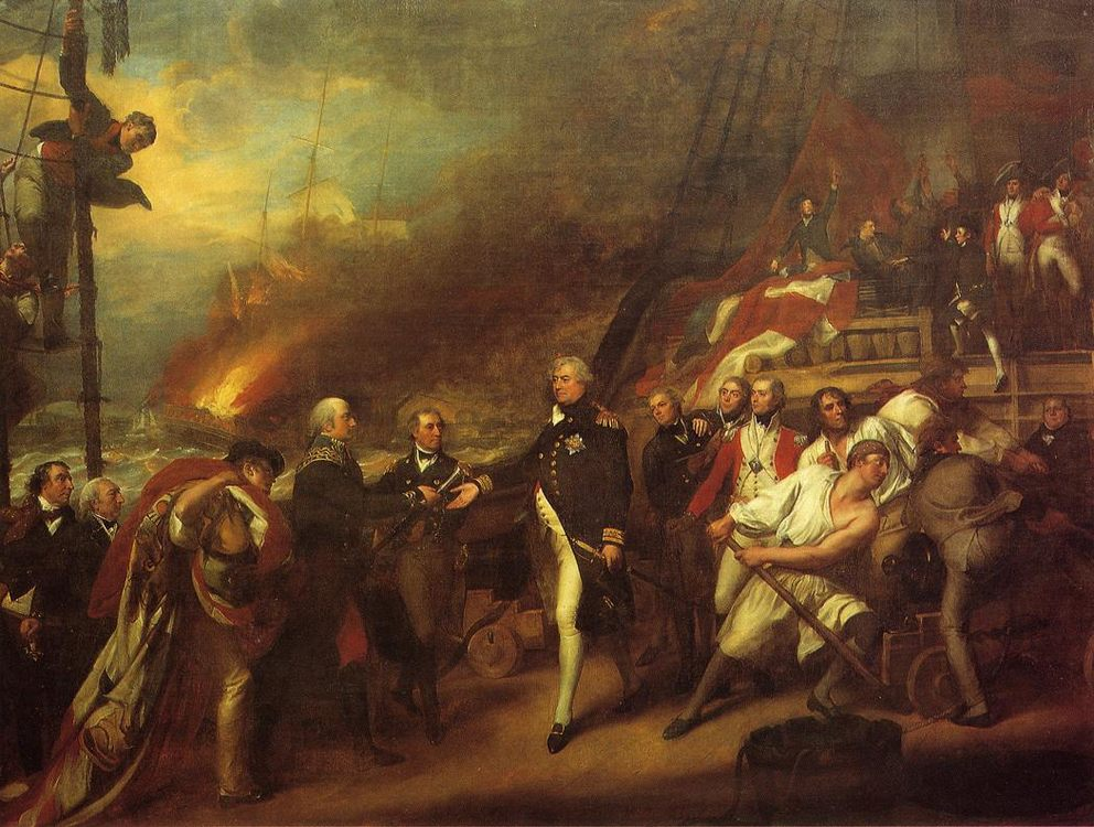Lord Duncan aka Surrender of the Dutch Admiral DeWinter to Admiral :: John Singleton Copley  - History painting фото