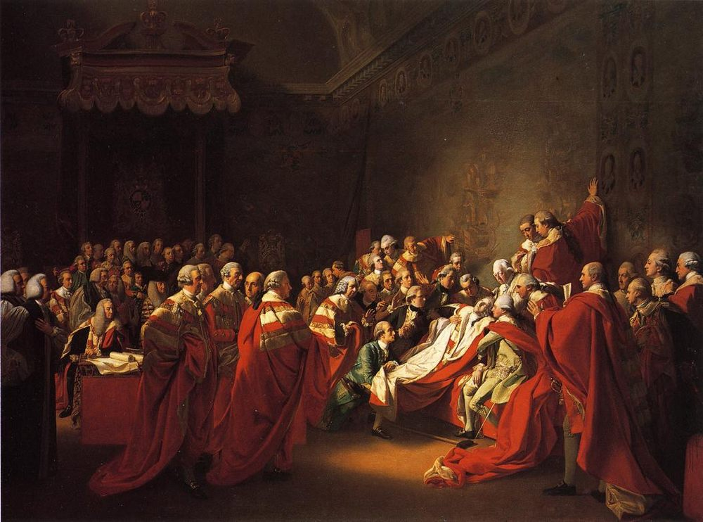 The Collapse of the Earl of Chatham in the House of Lords :: John Singleton Copley - History painting фото