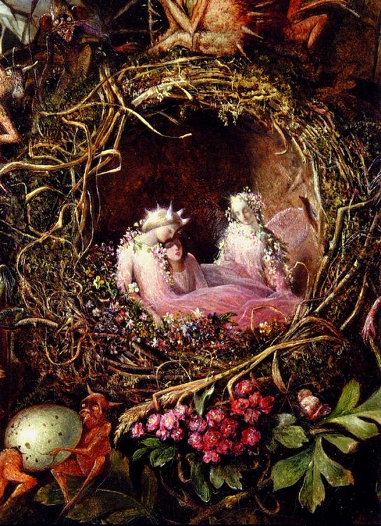 Fairies In A Bird s Nest (detail 1) :: John Anster Fitzgerald - Fantasy in art and painting фото