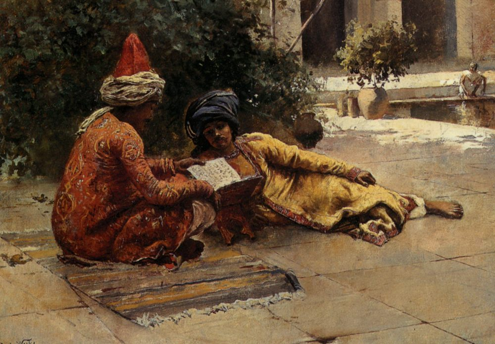 Two Arabs Reading :: Edwin Lord Weeks  - scenes of Oriental life ( Orientalism) in art and painting фото