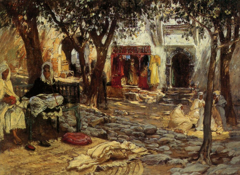 Idle Moments An Arab Courtyard :: Frederick Arthur Bridgman - scenes of Oriental life ( Orientalism) in art and painting фото
