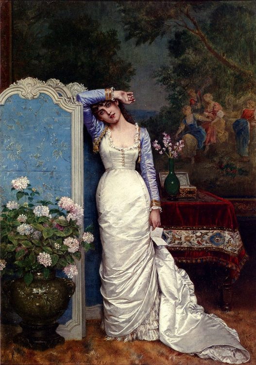 Young Woman In An Interior :: Auguste Toulmouche  - Romantic scenes in art and painting фото