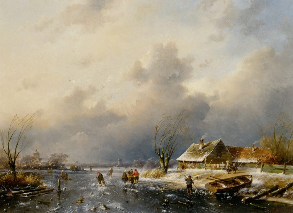 A Frozen Waterway with Skaters by a Cottage :: Charles Henri Joseph Leickert - winter landscapes фото