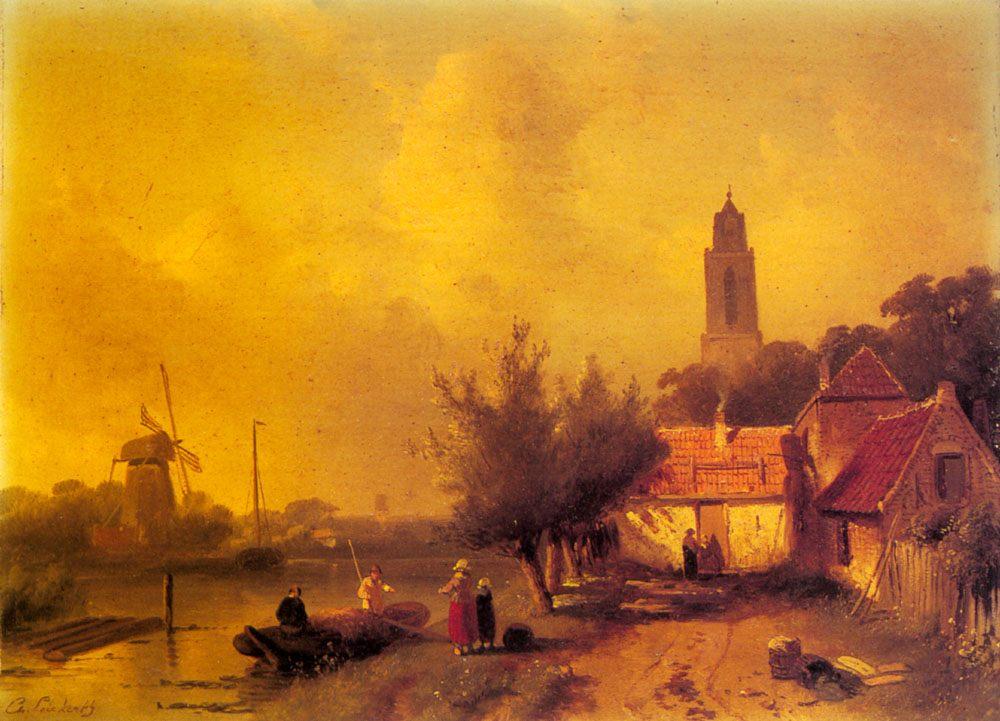 A River Landscape with Figures :: Charles Henri Joseph Leickert - River landscapes ôîòî