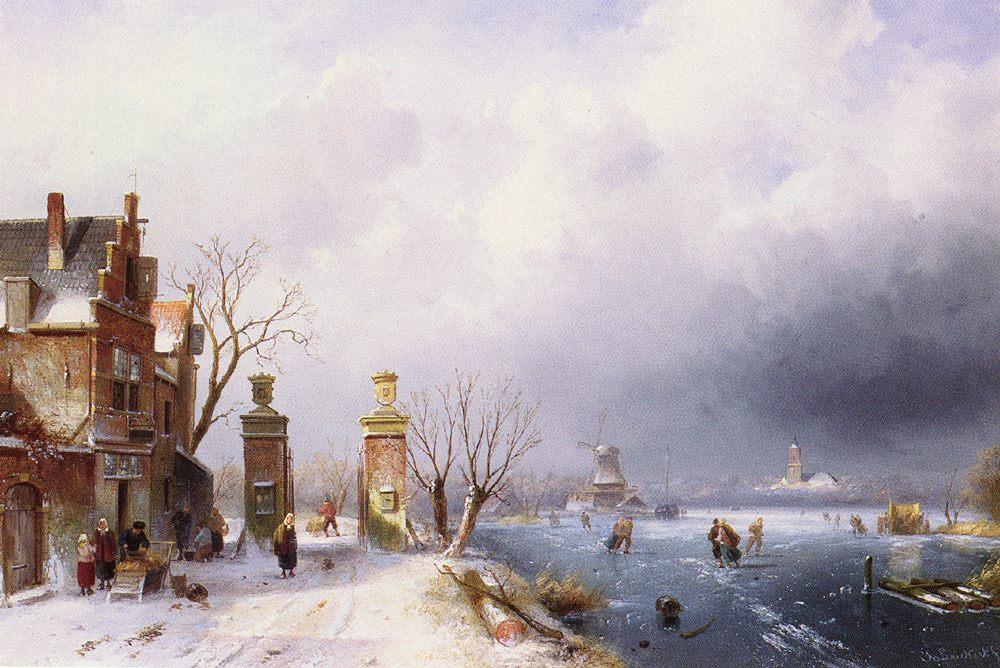 A Sunlit Winter Landscape :: Charles Henri Joseph Leickert - winter landscapes фото