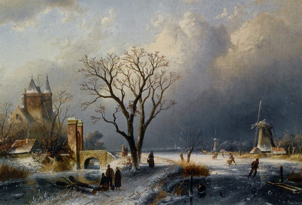 A Winter Landscape with Figures near a Castle :: Charles Henri Joseph Leickert - winter landscapes фото