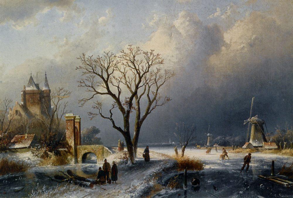 A Winter Landscape with Figures near a Castle :: Charles Henri Joseph Leickert - winter landscapes ôîòî