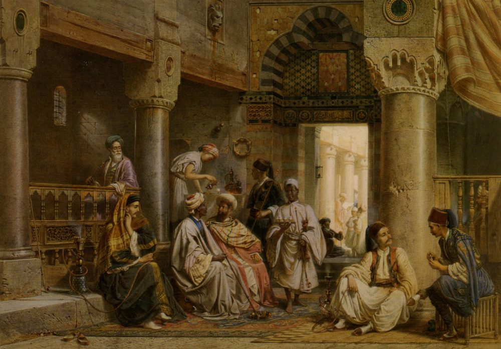 In The Caf :: Carl Friedrich H. Werner - scenes of Oriental life ( Orientalism) in art and painting фото