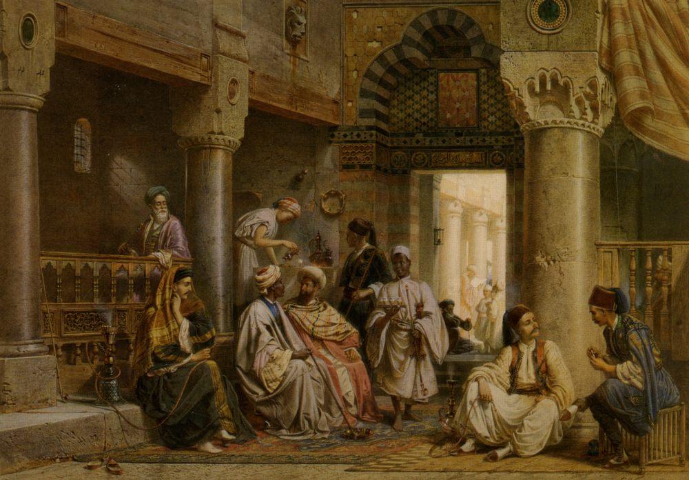 In The Caf :: Carl Friedrich H. Werner - scenes of Oriental life (Orientalism) in art and painting ôîòî