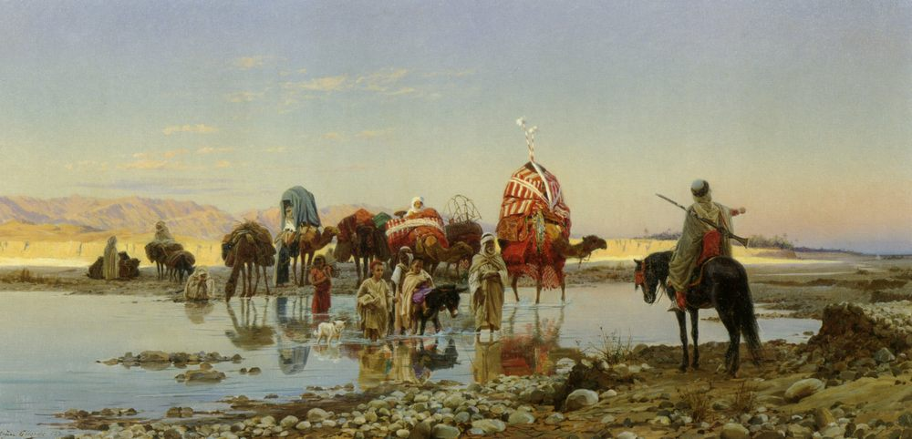 Сaravan transition  :: Eugene-Alexis Girardet - scenes of Oriental life ( Orientalism) in art and painting фото