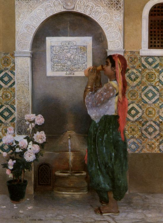 Algerian Girl Beside a Fountain :: Frantz Charlet - Arab women ( Harem Life scenes ) in art  and painting фото
