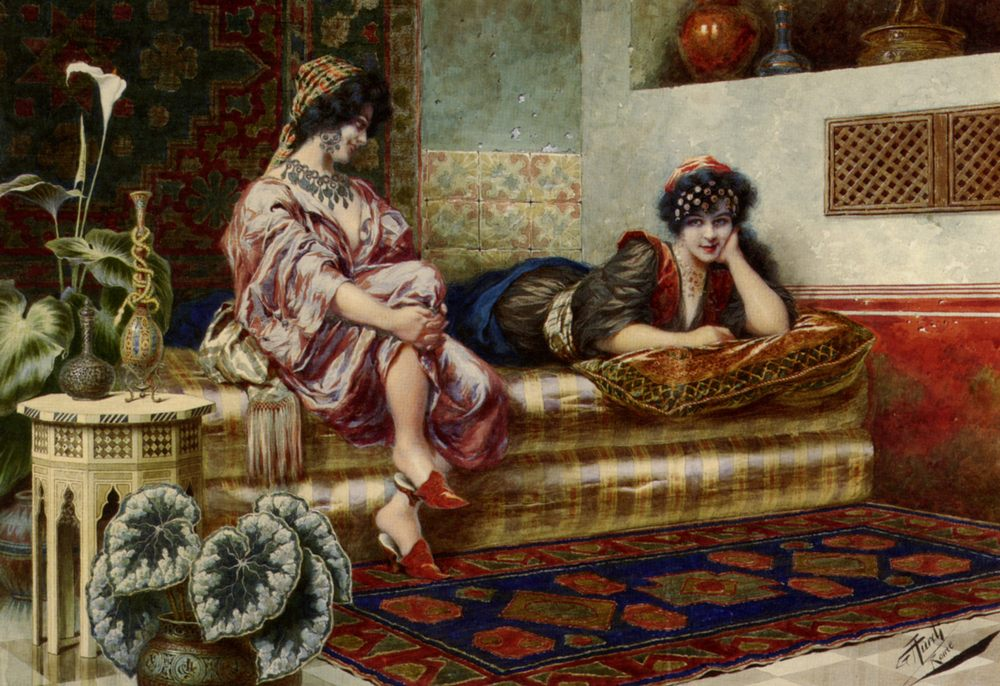 Idle Hours in the Harem :: Franz Von Defregger - Arab women ( Harem Life scenes ) in art  and painting фото