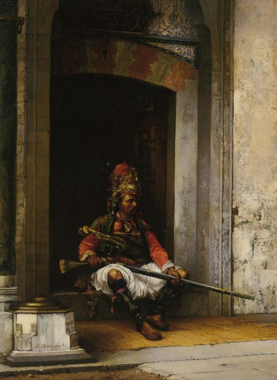 A Seated Bashi Bazouk :: Stanislaus von Chlebowski - scenes of Oriental life ( Orientalism) in art and painting ôîòî