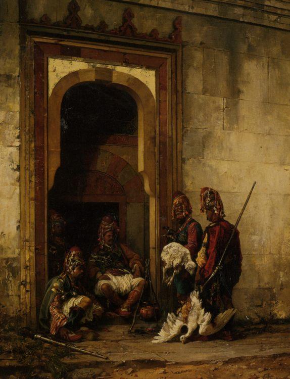 Bazouks in a Doorway :: Stanislaus von Chlebowski - scenes of Oriental life ( Orientalism) in art and painting ôîòî