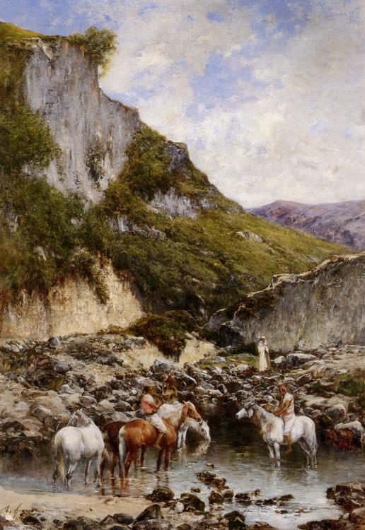 Arab Riders watering the Horses :: Victor Pierre Huguet - Horses in art ôîòî