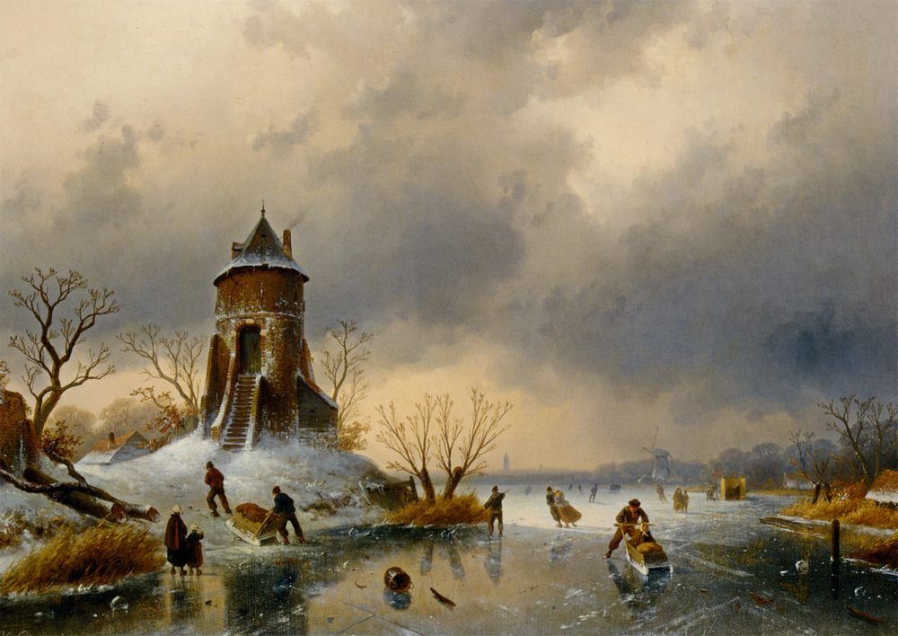 A Winter Landscape with Skaters on the Ice :: Charles Henri Joseph Leickert - winter landscapes фото