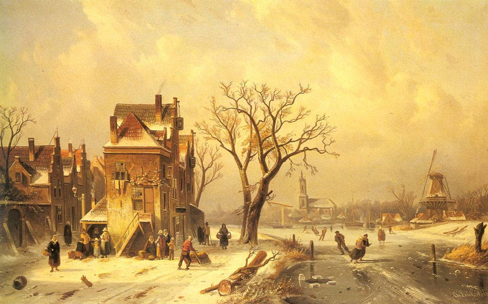 Skaters in a Frozen Winter Landscape :: Charles Henri Joseph Leickert - winter landscapes ôîòî