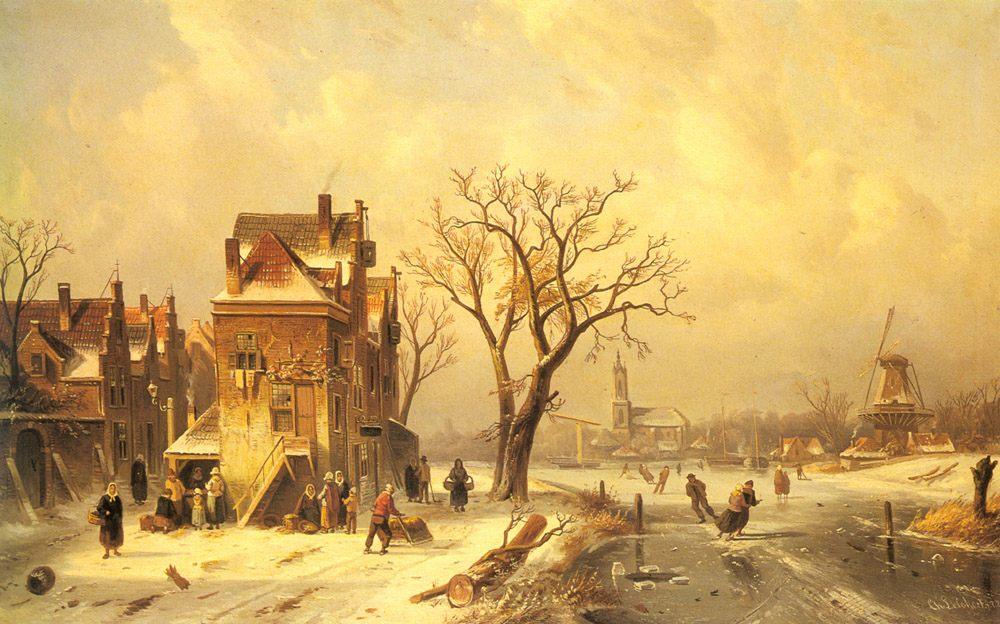 Skaters in a Frozen Winter Landscape :: Charles Henri Joseph Leickert - winter landscapes фото