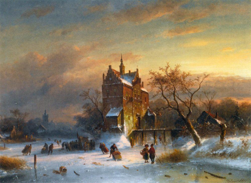 Skaters Near A Castle :: Charles Henri Joseph Leickert - winter landscapes фото